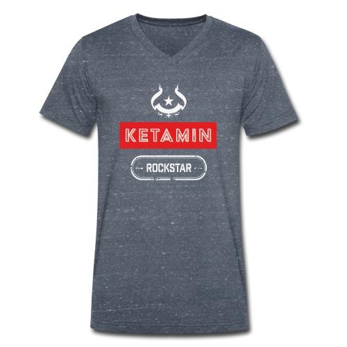 KETAMIN Rock Star - Weiß/Rot - Modern - Männer Bio-T-Shirt mit V-Ausschnitt von Stanley & Stella