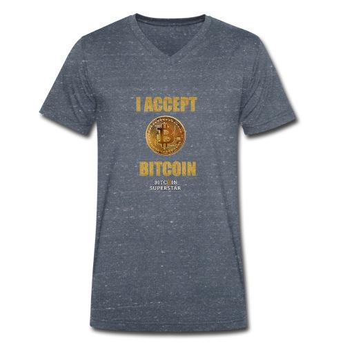 I accept bitcoin - T-shirt ecologica da uomo con scollo a V di Stanley & Stella