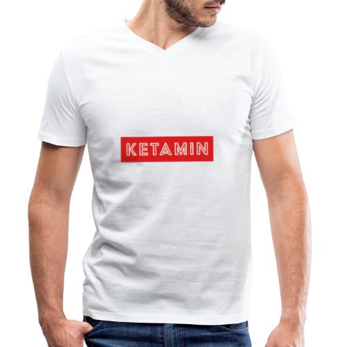 KETAMIN Rock Star - Weiß/Rot - Modern - Men's Organic V-Neck T-Shirt by Stanley & Stella