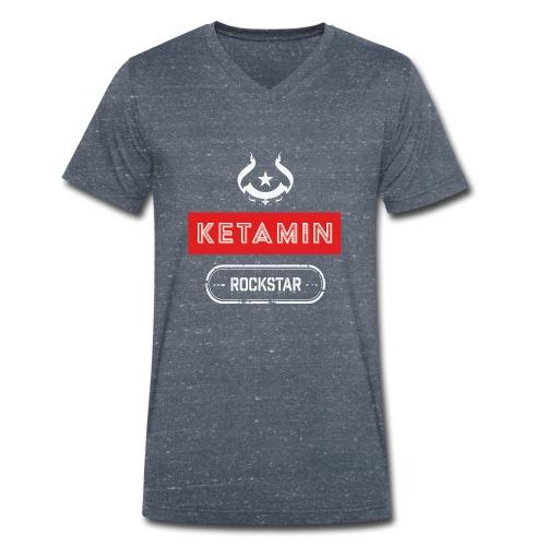 KETAMIN Rock Star - Weiß/Rot - Modern - Men's Organic V-Neck T-Shirt by Stanley & Stella