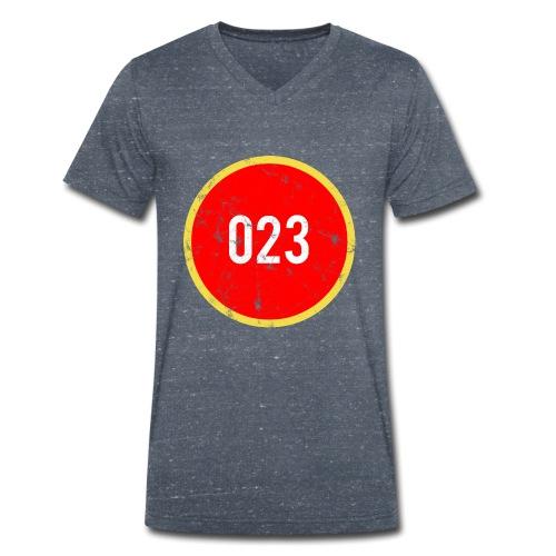 023 logo 2 washed regio Haarlem - Mannen bio T-shirt met V-hals van Stanley & Stella