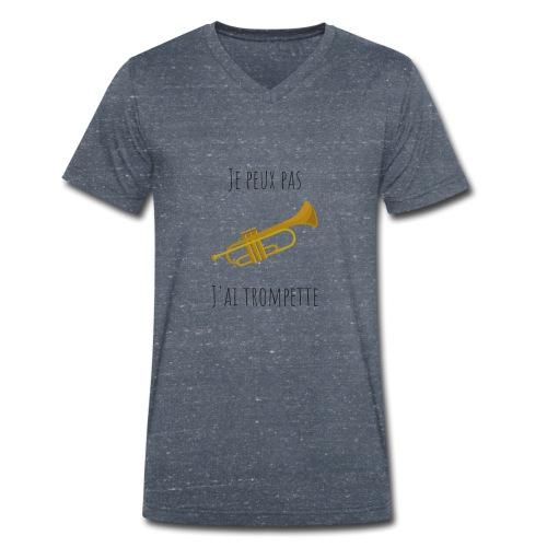 t-shirt trompette je peux pas j'ai trompette - T-shirt bio col V Stanley & Stella Homme