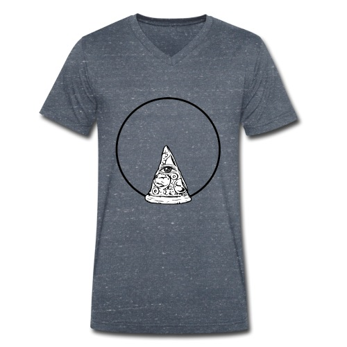 All sehendes Auge Pizza (schwarzer Druck) - Männer Bio-T-Shirt mit V-Ausschnitt von Stanley & Stella