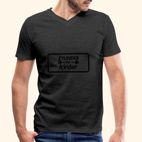 Zylinder Statt Kinder - Männer Bio-T-Shirt mit V-Ausschnitt von Stanley & Stella
