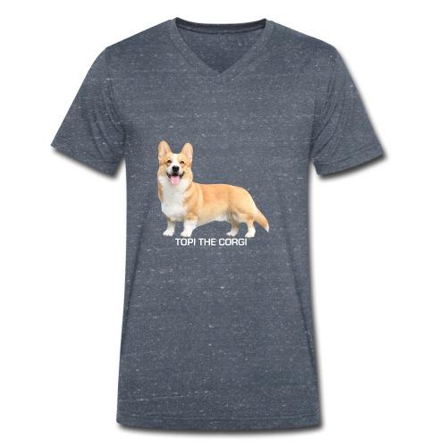 Topi the Corgi - White text - Men's Organic V-Neck T-Shirt by Stanley & Stella
