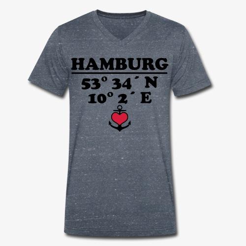 HAMBURG Koordinaten Anker 2c A / Längengrad - Männer Bio-T-Shirt mit V-Ausschnitt von Stanley & Stella