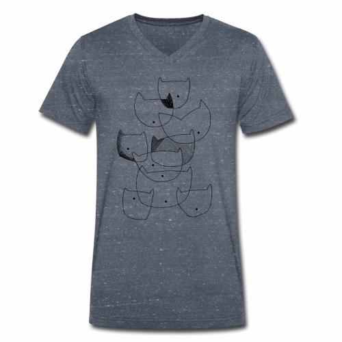 cats black line - katten zwarte lijn - Mannen bio T-shirt met V-hals van Stanley & Stella