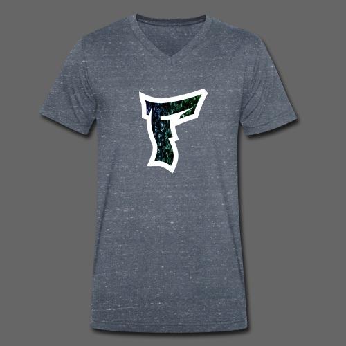 Rauch in Farben mit F Logo in Weiß - Männer Bio-T-Shirt mit V-Ausschnitt von Stanley & Stella