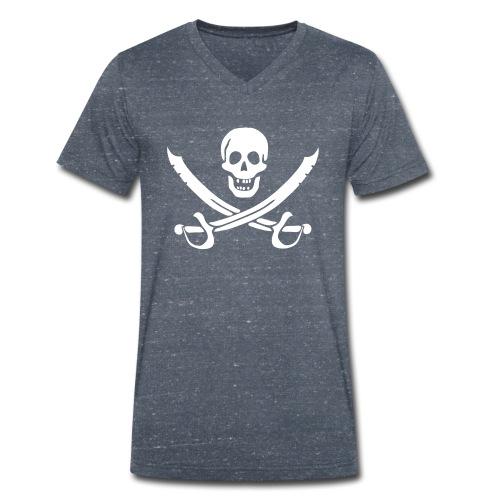Piratenpullover Mann Weiß-Schwarz - Männer Bio-T-Shirt mit V-Ausschnitt von Stanley & Stella