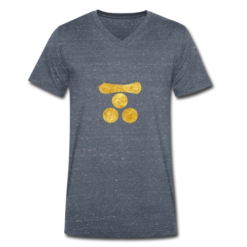 Mori Mon Japanese samurai clan in gold - Men's Organic V-Neck T-Shirt by Stanley & Stella