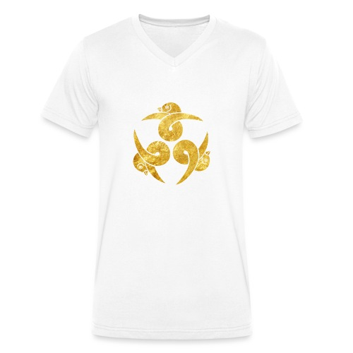 Three Geese Japanese Kamon in gold - Men's Organic V-Neck T-Shirt by Stanley & Stella