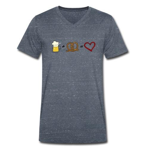 pretzel + beer = love - Men's Organic V-Neck T-Shirt by Stanley & Stella