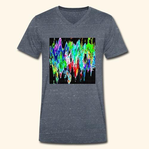 Colori ondulati base nero - T-shirt ecologica da uomo con scollo a V di Stanley & Stella
