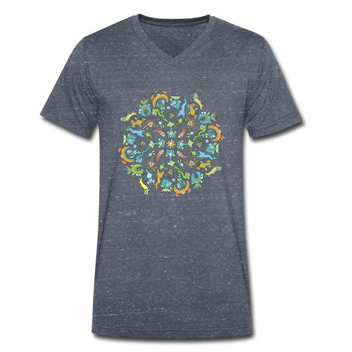 Marine Creatures Eat by Creating a Mandala - Men's Organic V-Neck T-Shirt by Stanley & Stella