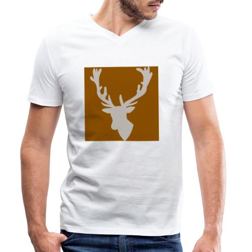 Hirch B BROWN WHITE - Männer Bio-T-Shirt mit V-Ausschnitt von Stanley & Stella