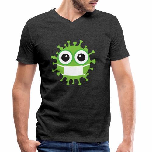 Uśmiechnij się pod maską - Ekologiczna koszulka męska z dekoltem w serek Stanley & Stella