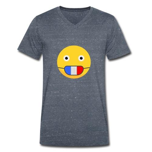 DESIGN EMOJI MASQUE COVID CORONA FRANCE - T-shirt bio col V Stanley & Stella Homme