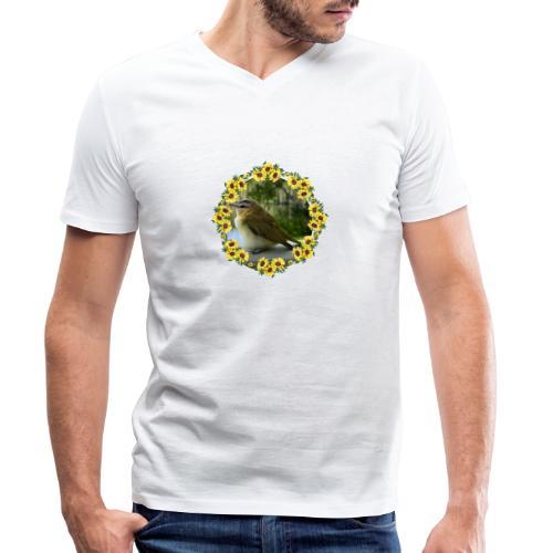 Vögelchen im Blumenkranz - Männer Bio-T-Shirt mit V-Ausschnitt von Stanley & Stella