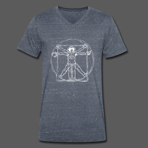 Vitruvian Gamer White Print - Männer Bio-T-Shirt mit V-Ausschnitt von Stanley & Stella