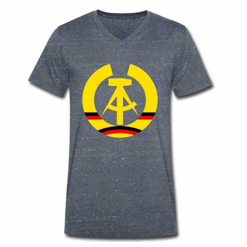 DDR coat of arms stylized (single) - Men's Organic V-Neck T-Shirt by Stanley & Stella