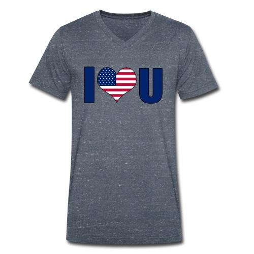 I love u USA - Økologisk T-skjorte med V-hals for menn fra Stanley & Stella
