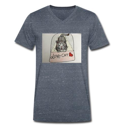 Love cat - T-shirt ecologica da uomo con scollo a V di Stanley & Stella
