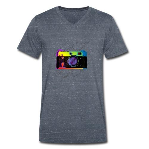 Vintage Rangefinder Film Camera Pop Art Style - Men's Organic V-Neck T-Shirt by Stanley & Stella
