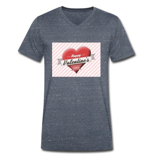 happy valentines day - Men's Organic V-Neck T-Shirt by Stanley & Stella