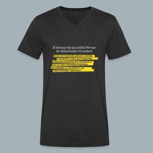Nederlandse Grondwet T-Shirt - Artikel 94 - Mannen bio T-shirt met V-hals van Stanley & Stella