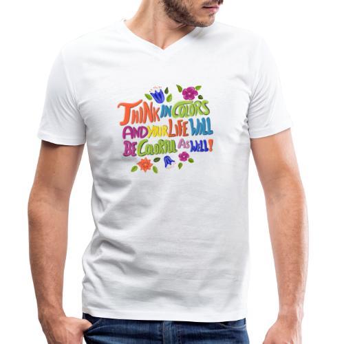 Think in Colors - Männer Bio-T-Shirt mit V-Ausschnitt von Stanley & Stella