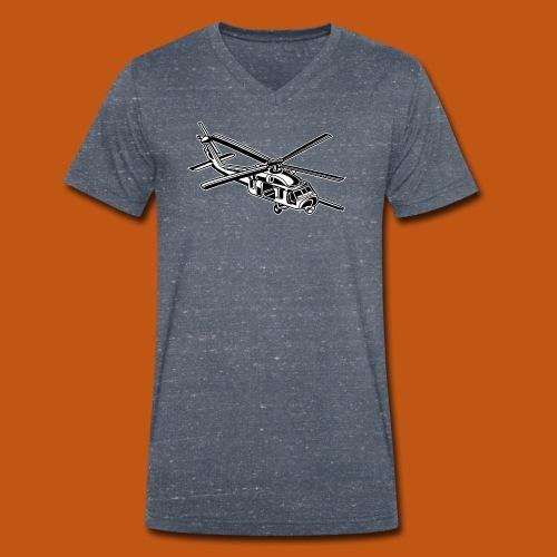 Hubschrauber / Helikopter 01_schwarz weiß - Männer Bio-T-Shirt mit V-Ausschnitt von Stanley & Stella