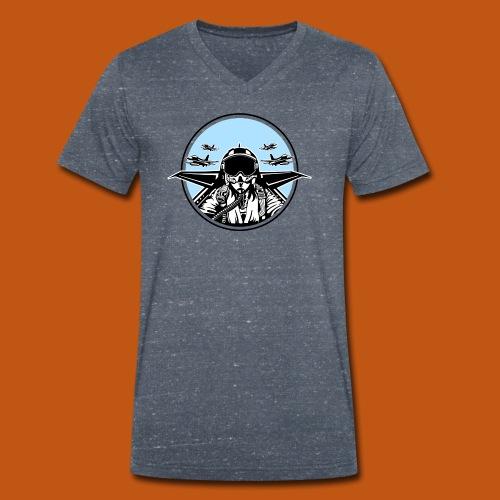 Jet Pilot / Kampfpilot 01_weiß Schwarz - Männer Bio-T-Shirt mit V-Ausschnitt von Stanley & Stella