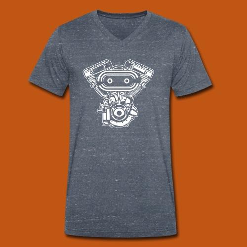 Motorrad Motor / Engine 02_weiß - Männer Bio-T-Shirt mit V-Ausschnitt von Stanley & Stella