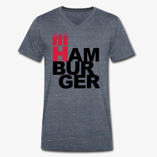HAMBURGER 2c Hamburg Wappen - Männer Bio-T-Shirt mit V-Ausschnitt von Stanley & Stella