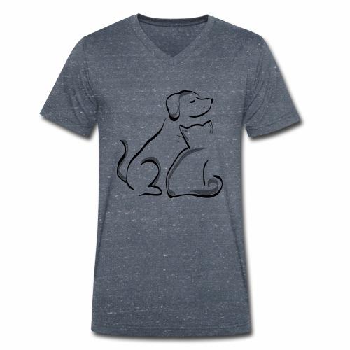 Haustiere bedrucken - Männer Bio-T-Shirt mit V-Ausschnitt von Stanley & Stella