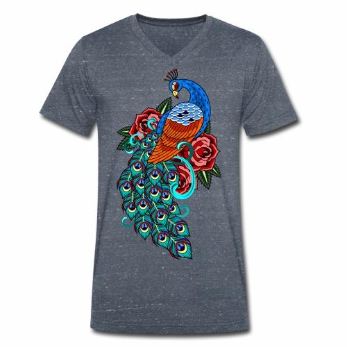 Farverig påfugl - Økologisk Stanley & Stella T-shirt med V-udskæring til herrer