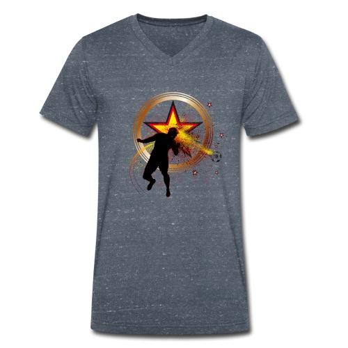 Fussball Fanshirt Deutschland - Kopfball Treffer - Männer Bio-T-Shirt mit V-Ausschnitt von Stanley & Stella