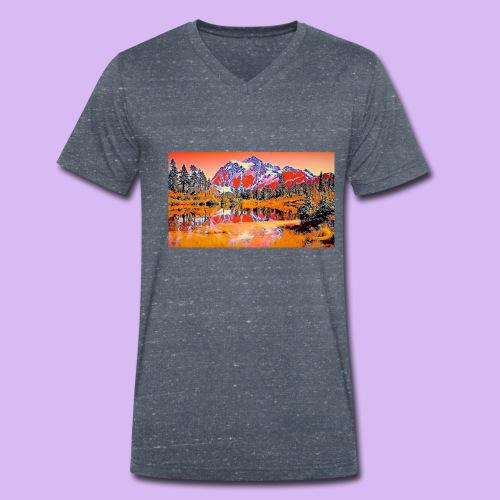 Montagne rosse punteggiate - T-shirt ecologica da uomo con scollo a V di Stanley & Stella