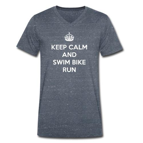 Keep Calm and Swim Bike Run - Ekologiczna koszulka męska z dekoltem w serek Stanley & Stella