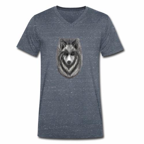 Foxy Wolf by Jon Ball - Men's Organic V-Neck T-Shirt by Stanley & Stella