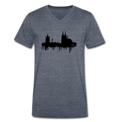 Skyline Köln - Schwarz - Männer Bio-T-Shirt mit V-Ausschnitt von Stanley & Stella