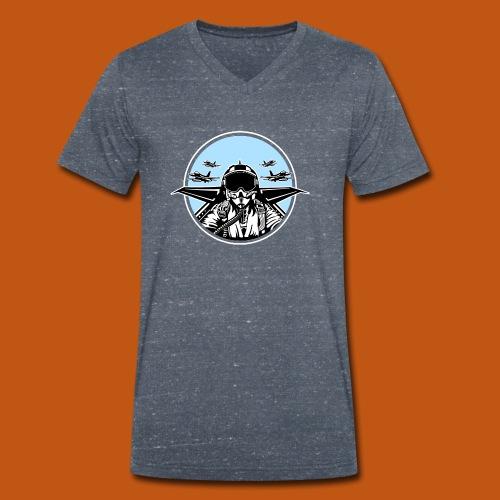 Jet Pilot / Kampfpilot 01_schwarz weiß - Männer Bio-T-Shirt mit V-Ausschnitt von Stanley & Stella
