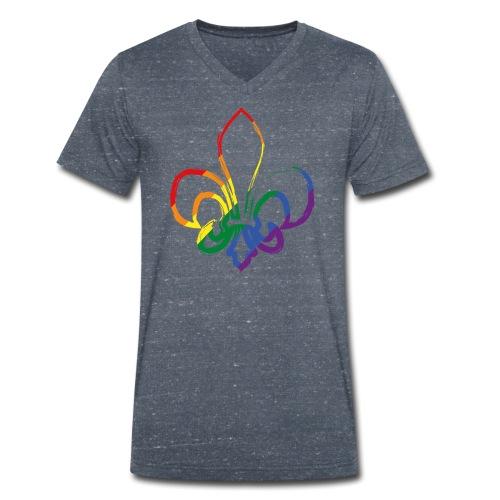 Pinselstrich Lilie Regebogenfahne - Männer Bio-T-Shirt mit V-Ausschnitt von Stanley & Stella