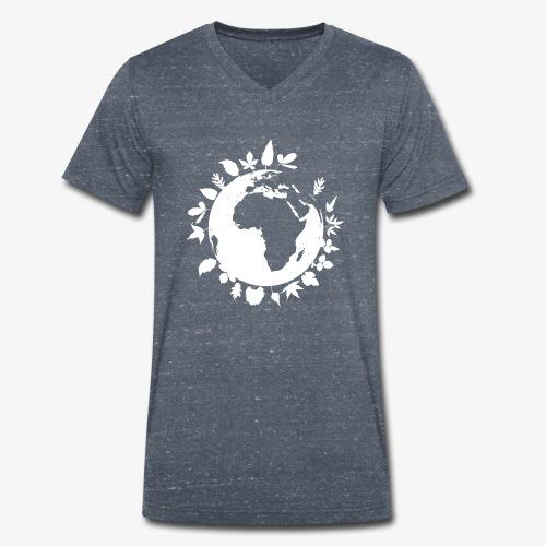 leaf globe white - Ekologisk T-shirt med V-ringning herr från Stanley & Stella