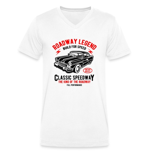 Roadway Legend Build for Speed - Mannen bio T-shirt met V-hals van Stanley & Stella