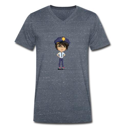 Momio police - Økologisk T-skjorte med V-hals for menn fra Stanley & Stella