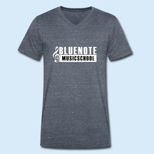 Bluenote Musicschool Logo Weiss/Schwarz - Männer Bio-T-Shirt mit V-Ausschnitt von Stanley & Stella