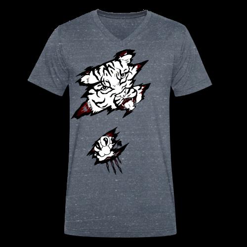 Böser Tiger - Männer Bio-T-Shirt mit V-Ausschnitt von Stanley & Stella