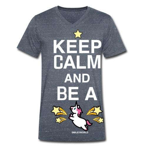 SmileyWorld Keep Calm And Be A Unicorn - Männer Bio-T-Shirt mit V-Ausschnitt von Stanley & Stella