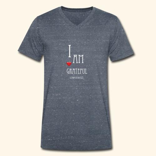 T Shirt Druck I am grateful Schwanenbussi weiss - Männer Bio-T-Shirt mit V-Ausschnitt von Stanley & Stella